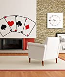 Vinyl Wall Decal Sticker Poker Cards size 21inX40in item JH280 Red Hearts/Diamond Black Clubs/Spades