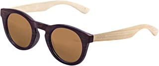 Ocean Sunglasses San Francisco Lunettes de Soleil Mixte Adulte, Bamboo Dark Frame/Wood Natural Arms/Brown Lens 20010.8 20010.8_MULTI