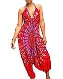 Ashuai Women's Halter V Neck Boho Harem Jumpsuit Gypsy Queen Wide Leg Jumpsuit Rompers Outfits(XL,Berry)