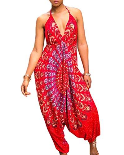 YouBens Womens African Harem Jumpsuit Spaghetti Strap Halter V Neck Long Romper by YouBens