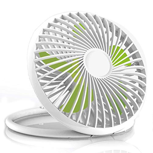 Price comparison product image USB Portable Desk Personal Cooling Fan USB Power Fan with Portable Hanging Handle Design for Office Desk Home Dorm (White,5.5 inch, 2 Adjustable Speed)