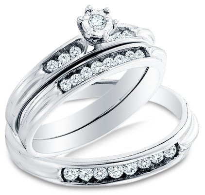 Sizes - L = 9.5, M = 12 - 14k White Gold Diamond Wedding Mens And Ladies Couple His & Hers Trio 3 Three Ring Bridal Matching Engagement Wedding Ring Band Set (0.40 cttw.) - Please use drop down menu to select your desired ring sizes by Sonia Jewels