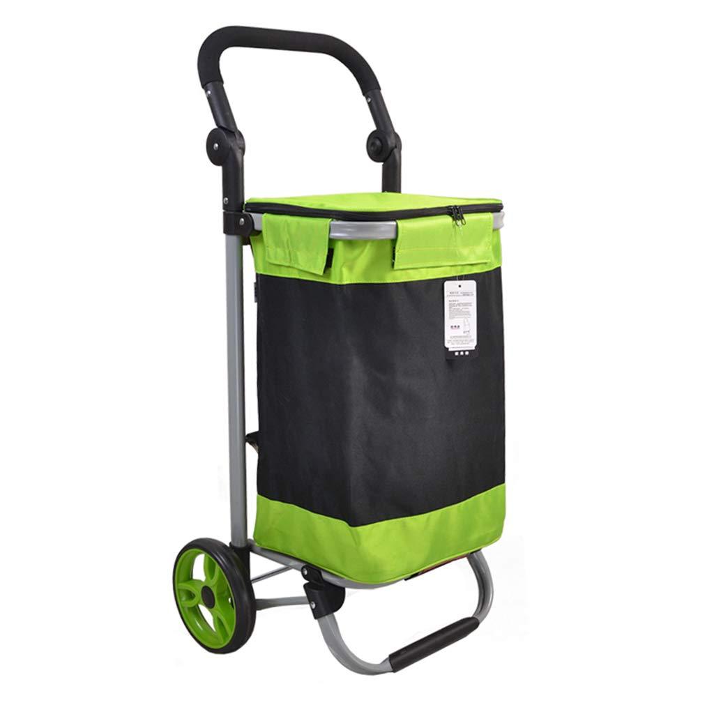 YY1702鋼管折りたたみショッピングカート17CMベアリングホイールの買い物食品購入小型カートワイドフラットフレーム (色 : Green)  Green B07L6GMV89