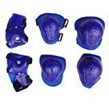 Cooplay 6Pcs Set Sports Cycling Roller Skating pads /Extreme Sports Protective Gear kid children's Wrist Elbow Knee Protector(Complete Set - Hands, Knees, and Elbows) (blue)