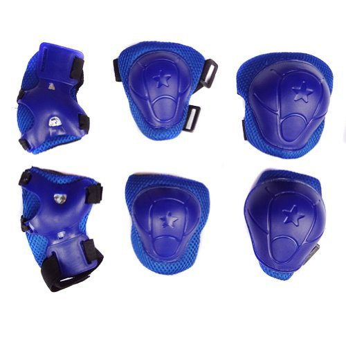 Cooplay 6Pcs Set Sports Cycling Roller Skating pads /Extreme Sports Protective Gear kid children's Wrist Elbow Knee Protector(Complete Set - Hands, Knees, and Elbows) (blue) by Cooplay