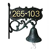 Aspire Customized Home Address Sign, Vintage Decorative Cast Iron Door Bell, Courtyard Wall Bell, Dinner Bell-Green
