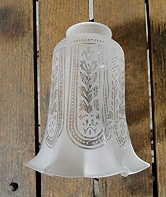 """Victorian Etched with Flare Glass Replacement Shade 2 1/4"""" Fitter Lighting Parts New"""