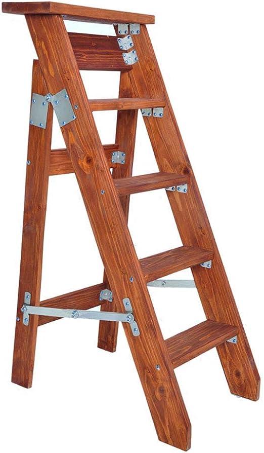 Dufeng 5 Pasos Plegable de un Solo Lado Escalera Plegable Individual Espiga Recta de Madera sólida ático Subida de escaleras Soporte heces Flor (Color (Color : A): Amazon.es: Hogar