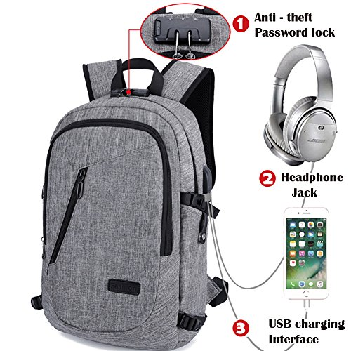 e3ff553d3e65 School Bag Laptop Backpack, Business Computer Bag with Headphone Port, Anti  Theft School Computer Backpacks with USB Charging Hole and Water Resistant  ...