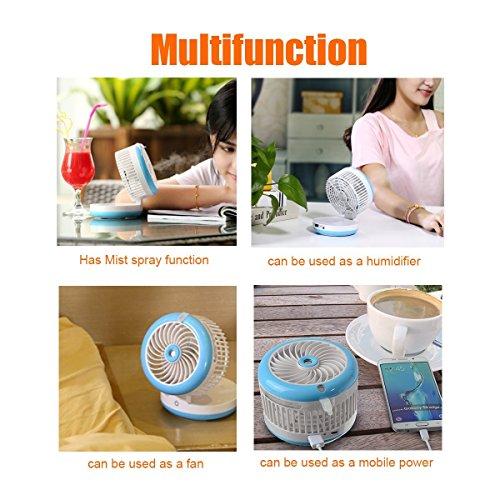Cingk Personal Fan Cooling Misting Fan, Portable USB Rechargeable Fan, Power Bank, Table Desk Mini Humidifier, Multifunction 3 in 1, Blue by Cingk (Image #4)