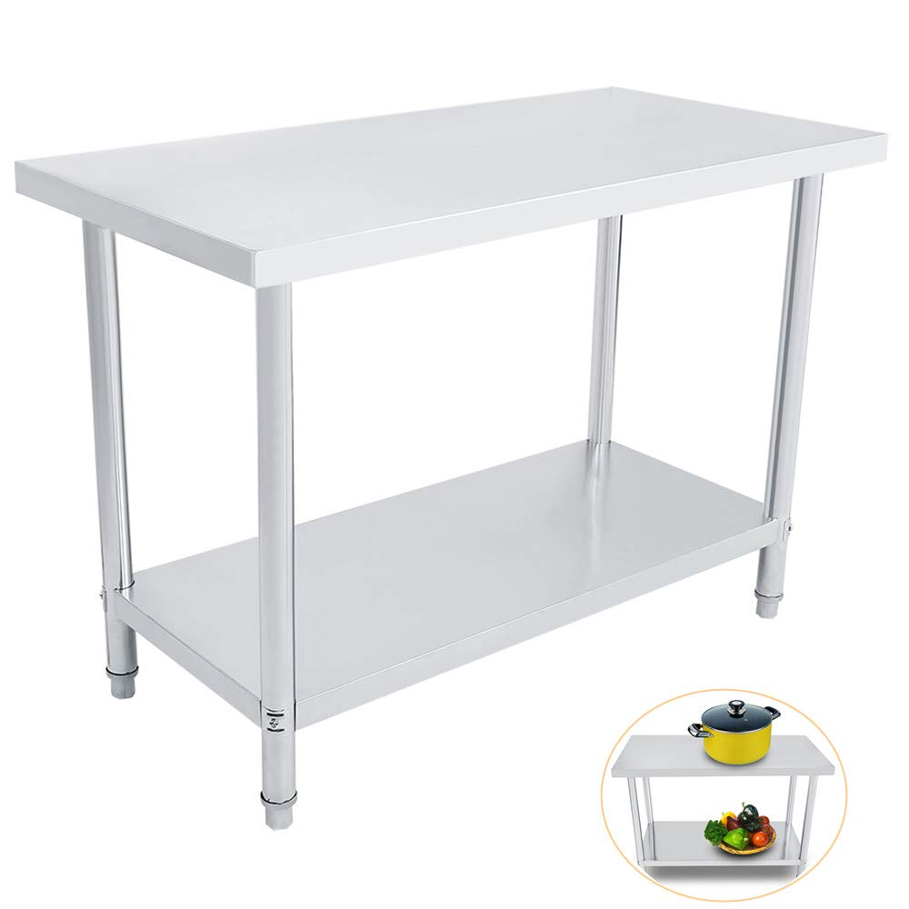 Catering Table Double Layer Stainless Steel Platform Operating Table Work Station Kitchen Desk 0.6mm Cocoarm Kitchen Work Bench