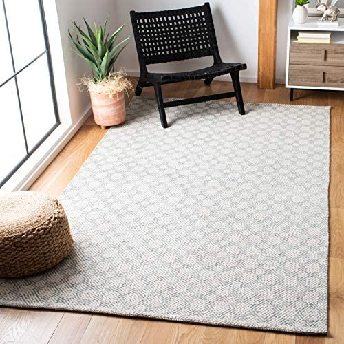 Safavieh Cotton Kilim Collection KLC222B Southwestern Flatweave Grey and Ivory Cotton Area Rug 8 x 10