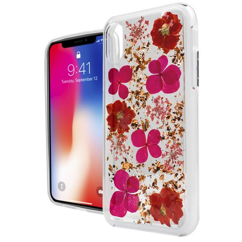 APPLE iPHONE X / iPHONE 10 Case, Phonelicious 3D/4D image [Slim Fit] [Lightweight] [Shock Proof] Hybrid Hard Protector Cover TPU (RED ONYX FLOWER) - Onyx Shell Jacket