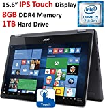 2017 Newest Acer Aspire 15.6'' 2-in-1 Convertible FHD IPS Touchscreen Premium High Performance Laptop, Intel Core i5-7200U 2.5GHz, 8GB Memory, 1TB HDD, Backlit Keyboard, Bluetooth, Wi-Fi, Windows 10
