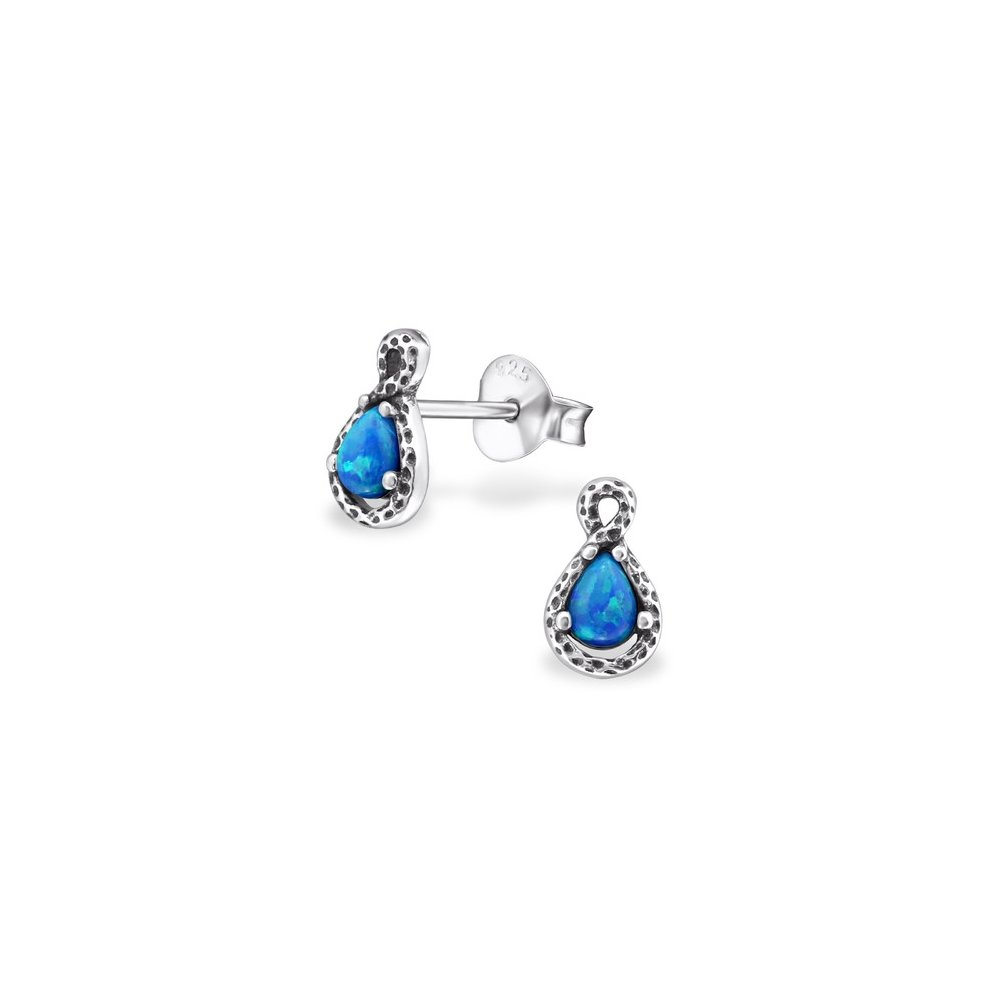 Pear Opal and Semi Precious Ear Studs 925 Sterling Silver For Women and Girls
