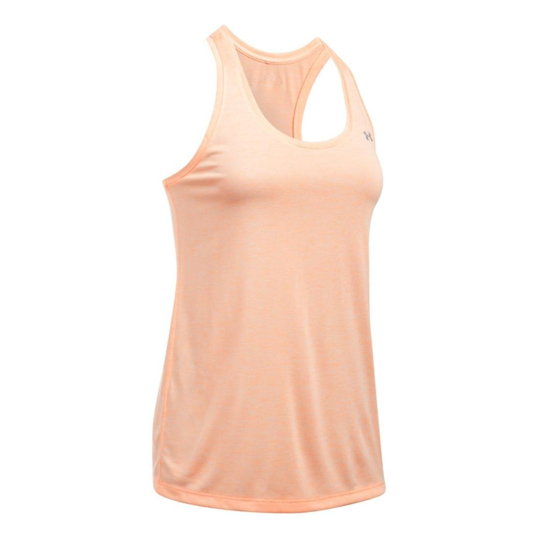Under Armour womens Tech Twist Tank Top, Playful Peach (164)/Metallic Silver, X-Small