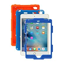 iPad Mini 4 Case, Aceguarder® [Heavy Duty] Apple iPad Mini 4 Case Full-body Protective Case Cover with Screen Protector Proof Shockproof Drops Protection Soft Silicone case with stand for Kids Outdoor Adventure Sports Gifts for Apple iPad Mini 4 Case (iPad mini 4, Orange-blue)