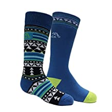Bridgedale Kid's Merino Ski Socks (2 Pack), Black/Blue, Small