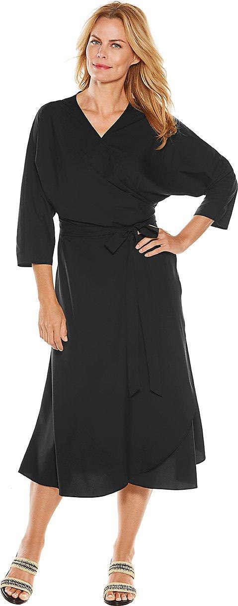 Coolibar UPF 50+ Women's Summer Wrap Dress - Sun Protective (Large- Black)