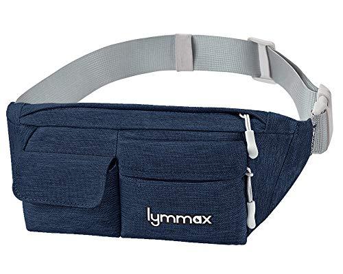 Lymmax Fanny Pack Slim Waist Bag Pack Waterproof Bum Bag Running Belt for Men Women Traveling Cycling Hiking Camping Running Dog Walking, Large Capacity