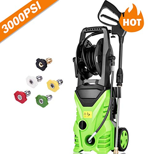- Homdox 3000 PSI Pressure Washer, 1.80 GPM 1800W Electric Power Washer with 5 Quick-Connect Spray Tips (Green)