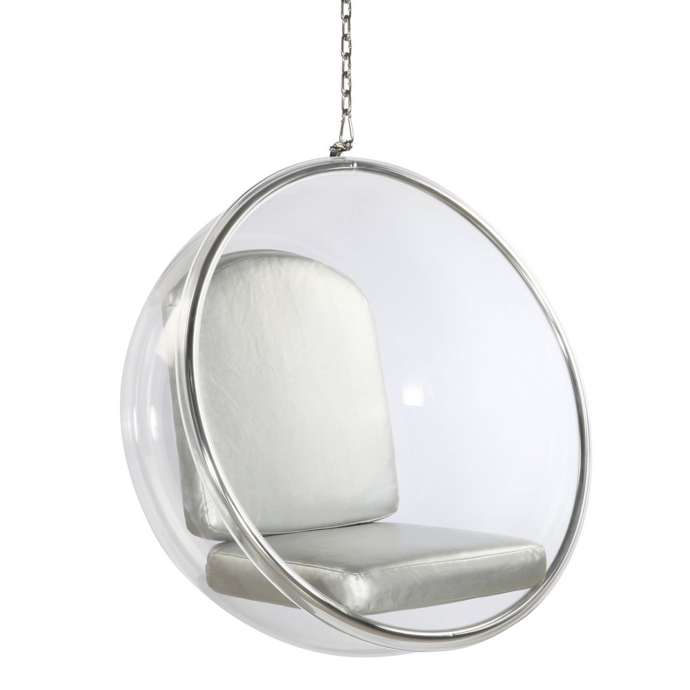 Amazon.com: Designer Modern Eero Aarnio Style Hanging Sexy Bubble Ball Chair  With Silver Cushion Brand New: Kitchen U0026 Dining