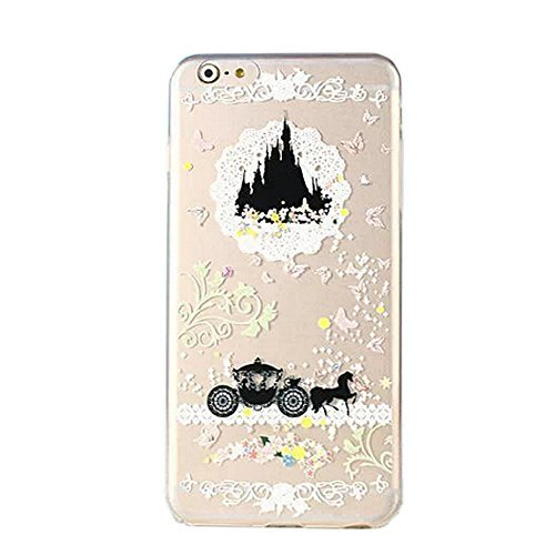iPhone 6 Plus / 6s Plus Compatible, Retro Princess Girl Black Dream Castle Colorful Flexible Ultra Slim Translucent iPhone Cover Case