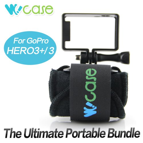 WoCase® Wrist Strap Mount and Standard Frame Set for GoPro HD HERO3+ 3 2 1 Cameras (Compatible with Housing and Frame)