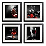 pictures of white kitchens Framed Wine And Grapes Wall Art Prints Posters For Living Room Decorations Black White And Red Rose Wall Art Decor Artwork Canvas Paintings 4 Piece Black Frames With White Mat Pictures For Kitchen