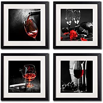 this item framed wine and grapes wall art prints posters for living room decorations black white and red rose wall art decor artwork canvas paintings 4