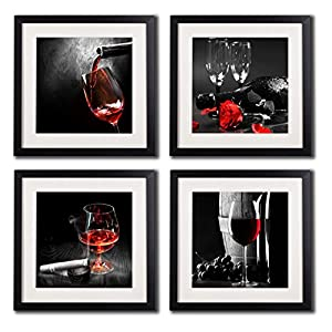Framed Wine And Grapes Wall Art Prints Posters For Living Room Decorations Black White Red Rose Decor Artwork Canvas Paintings 4 Piece