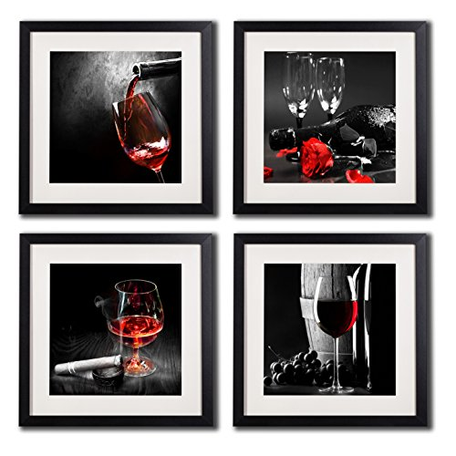 Framed Wine And Grapes Wall Art Prints Posters For Living Room Decorations Black White And Red Rose Wall Art Decor Artwork Canvas Paintings 4 Piece Black Frames With White Mat Pictures For Kitchen