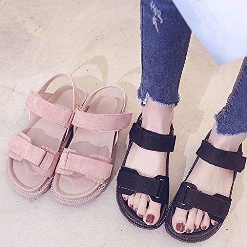 Sandals Thick-Bottom Schoolgirl Summer Korean Harajuku Style Flat Bottom Platform Shoes Pink 1 PTlDO91M