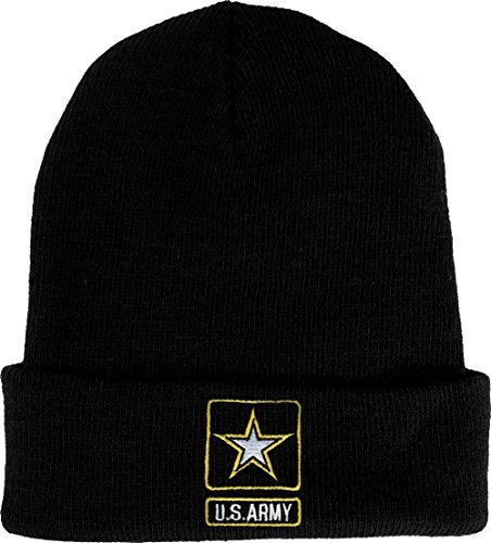 Star Knit Beanie - U.S. Army Star Embroidered Polyester Knit Beanie Watch Cap