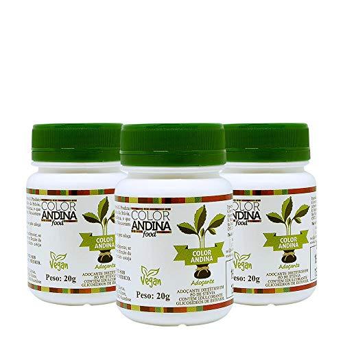 Adoçante dietético Stévia Color Andina Food, 3 potes de 20g