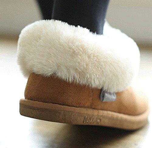 Cattior Mujeres Fur Lined Warm Outdoor Zapatillas De Casa Zapatos Marrón