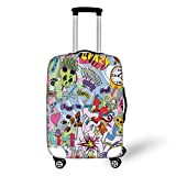 Travel Luggage Cover Suitcase Protector,Art,Hip Hop Inspired Colorful Graffiti Doodle Crazy Love Time Cool Skull Street Art Print Decorative,Multicolor,for Travel