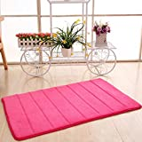 Bathroom Mats Pink Bath Mat,Muxika 50 x 80cm Memory Foam Mat Absorbent Slip-resistant Pad Bathroom Shower Bath Mats (Hot pink)
