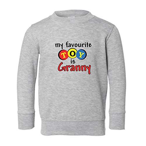 My Favorite Toy is Granny Toddler Long Sleeve Pullover Sweatshirt Oxford Gray (Granny Oxford)