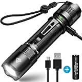 Sporting Goods : Rechargeable Flashlight, BYB F18 LED Tactical Flashlight, 800 Lumens Super Bright Pocket-Sized CREE LED Torch with Clip, IP67 Water Resistant, 5 Modes for Camping, Hiking, Emergency & EDC
