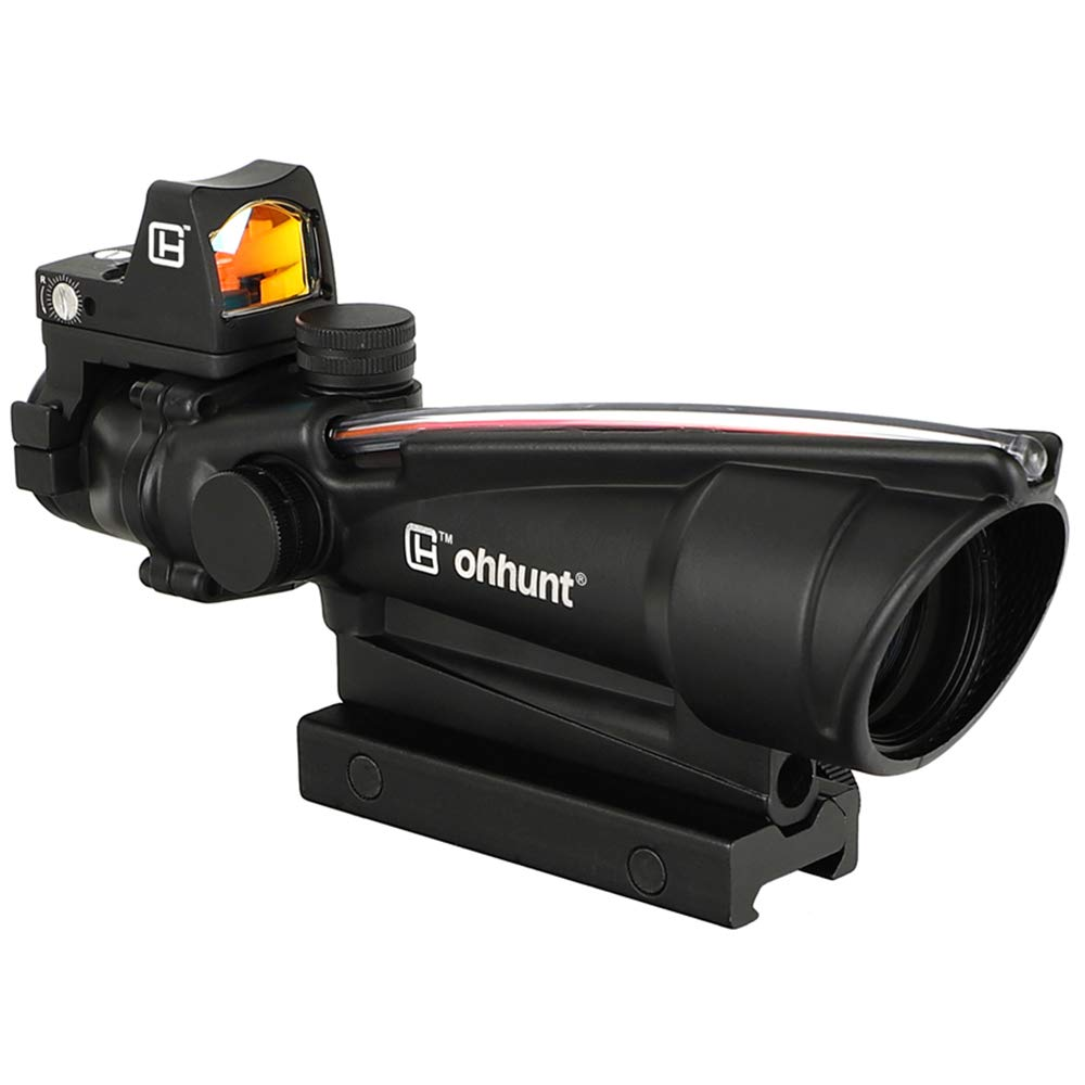 ohhunt 5X35 Red Fiber Optic Illuminated Horseshoe Dot Scope with 3 MOA Red Dot Sight by ohhunt