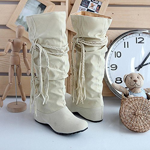 by casual wind autumn Mid Flat Girls 6 Ladies Shoes UK Calf Boots Motorcycle 5 3 5 Women Platforms Boots Beige Round Tassel Toe Heighten Size CxwXwpZq
