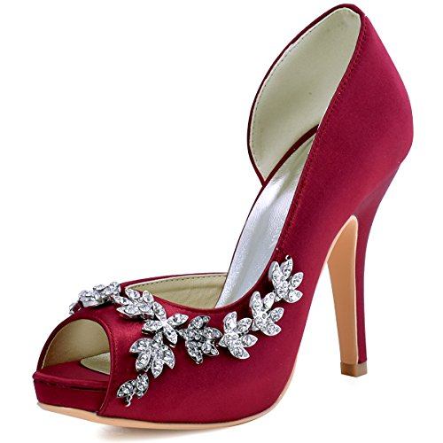 ElegantPark HP1560IAC Women's Peep Toe Platform High Heel Rhinestones Satin Wedding Party Dress Shoes Burgundy US 10 (Rhinestone Satin Wedding Pumps)