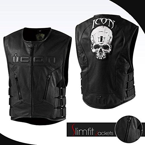 Icon Leather Vest (Spazeup Icon Regulator Skull Leather Motorcycle Vest (XX-Large, Black))