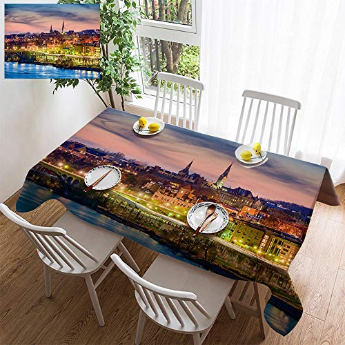 HOOMORE Simple Color Cotton Linen Tablecloth,Washable, Georgetown Skyline Decorating Restaurant - Kitchen School Coffee Shop Rectangular 108×54in