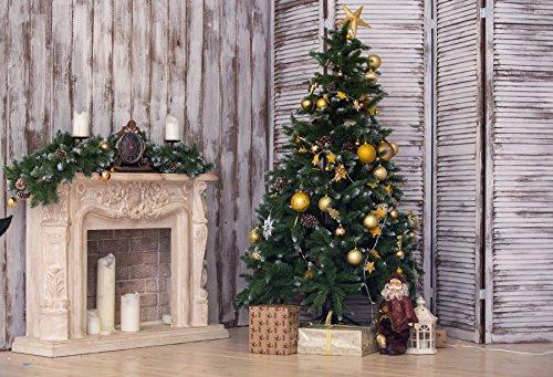 Baocicco クリスマスルームデコ インテリア背景 7x5フィート コットンポリエステル 写真 グランジ木製壁 サンタクロース人形ギフト 大理石 暖炉 子供 パーティー 冬 休日   B07FS951C1
