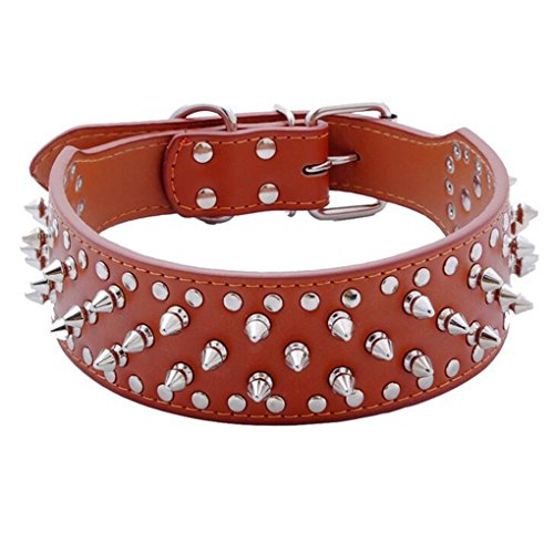 Hoot PU Leather Adjustable Spiked Studded Dog Collar 2 Wide 43 Spikes (L(Neck 21-24), Light Brown)