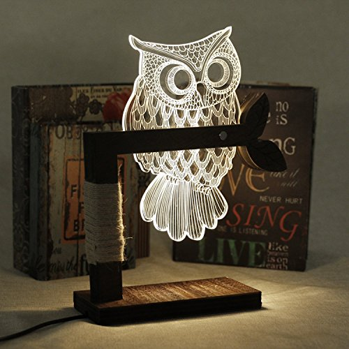SSAdams Home 3D Owl Shape LED Desk Table Light Lamp Night Light US Plug