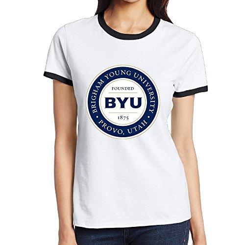Custom Women's Cool Two-toned Tshirt Brigham Young University BYU Black Size S (Pandora On Echo)