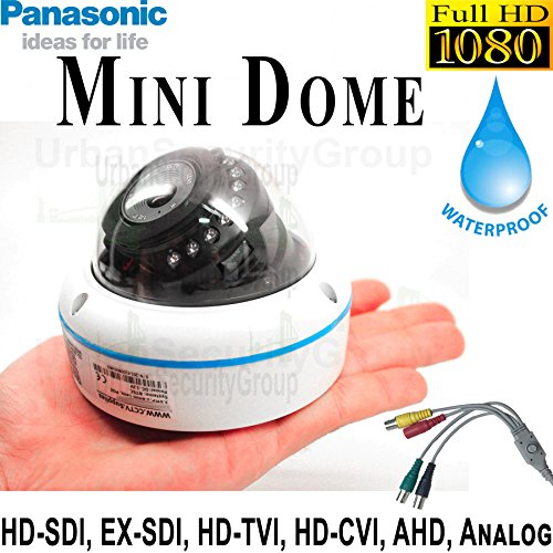 Cheap USG 6-in-1 CCTV Format Panasonic Chip 1080P 2MP High Definition Discreet Mini Dome Security Camera : 3.6mm Fixed Wide Angle Lens, 15x IR LEDs : HD-SDI, EX-SDI, HD-TVI, HD-CVI, AHD, Analog Format